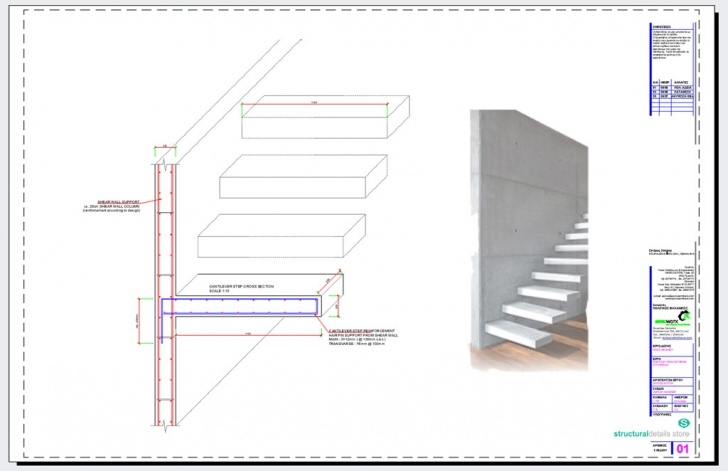 Steel Staircase Section Cantilever Stairs Steps Cross Section Reinforcement Detail Picture 604
