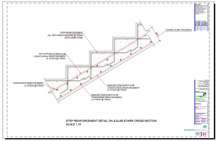 Steel Staircase Section Step Reinforcement Detail On A Slab Stairs Cross Section Photo 141