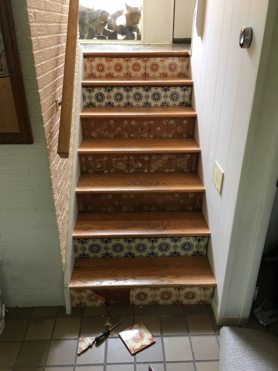 Wood And Tile On Stair Diy Wood Stained Staircase Risers | Dave Eddy Picture 414