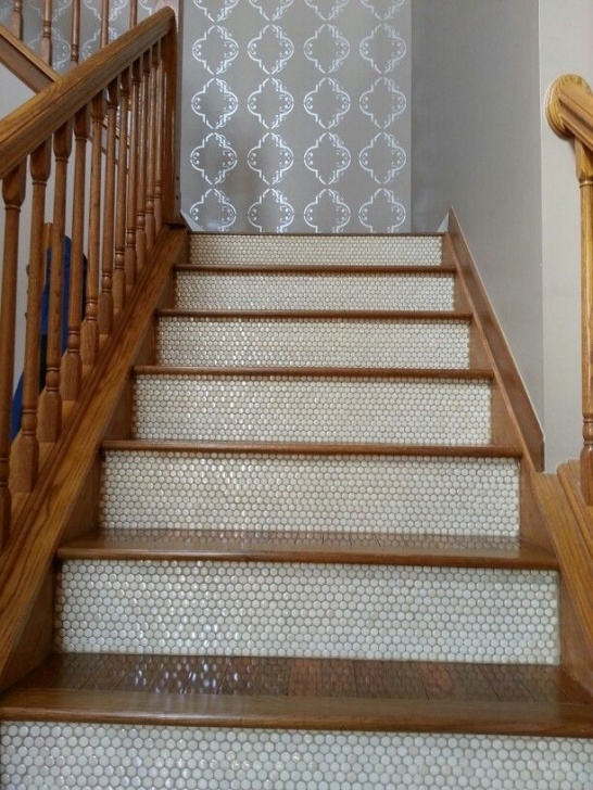 Wood And Tile On Stair Penny Tiled Stairs.they'Re Mine! | Tiled Staircase Picture 792