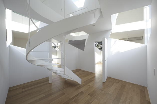 Circular Staircase Design White Wood Modern Ideas Awesome Modern Spiral Staircase White Color Tread Photo 30