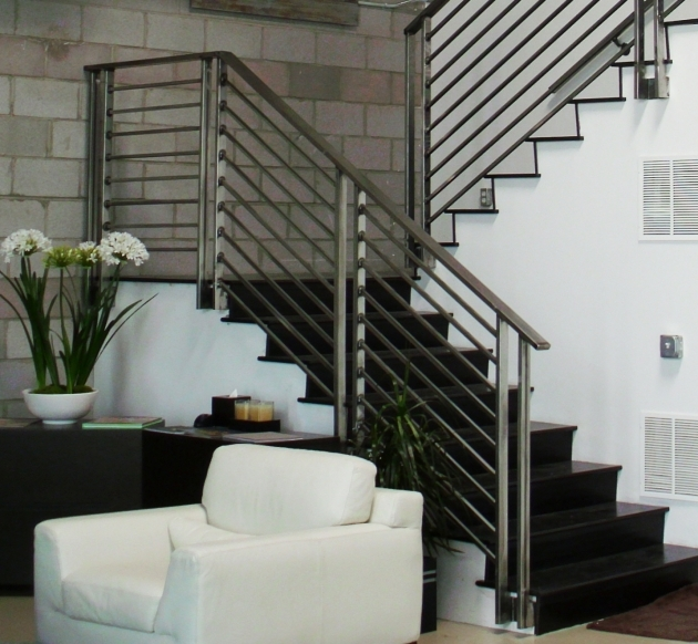 Staircases Designs With Railing Modern Grey Polished Iron Stair Railing Contemporary Design With Black Hardwood Treads Pictures 31