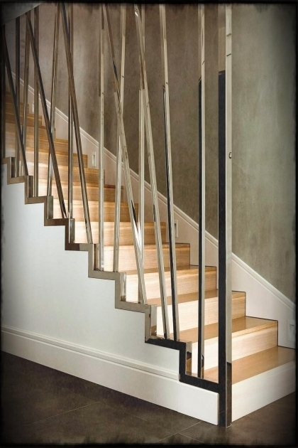 Staircases Designs With Railing Modern Stair Railings With Contemporary Metal Fence And Dark Brown Concrete Floor Images 99