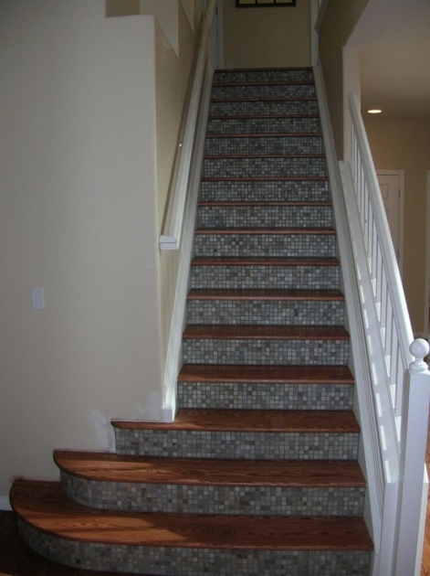 Tiles For Stair Risers Custom Wood Floors And Steps Inc Red Oak And Slate Pic 09