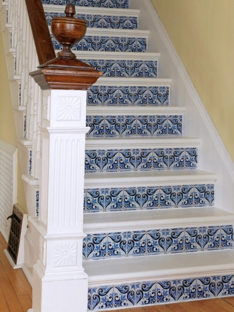 Tiles For Stair Risers Susan Teare White And Blue Faux Tile Staircase Pics 19