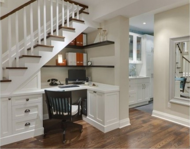 Under Stairs Cupboard Storage Ideas L Shape White Wooden Table Under Stairs And Combine With Cabinets Pics 46