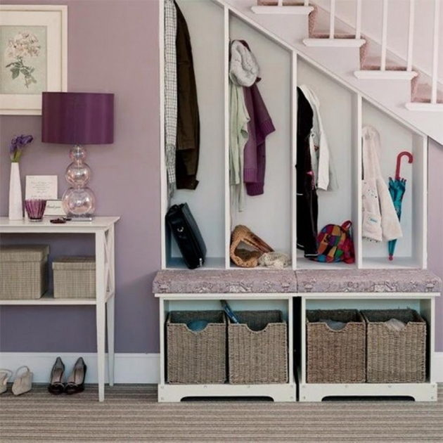 Under Stairs Cupboard Storage Ideas With Purple Drum Table Lamp And Laminated Wooden Stair Steps Design Pic 16