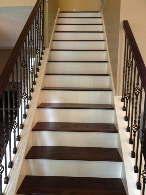Wood Stair Treads With Iron Balusters At Stairs Picture 99