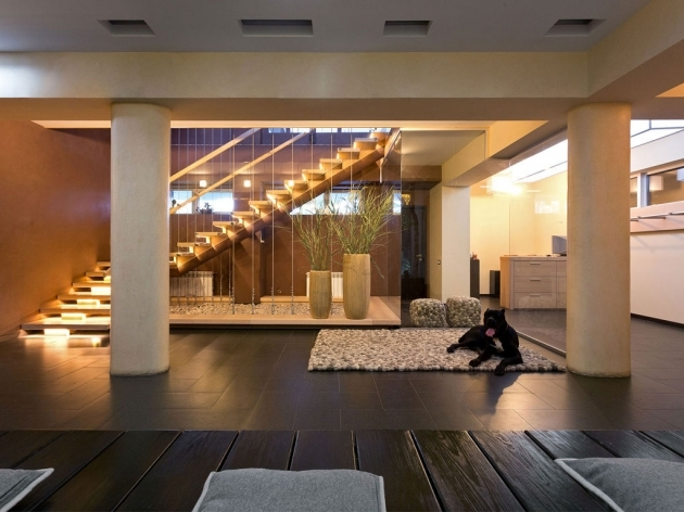 Modern Under Staircase Design Decorating Ideas With Lighting Under Wooden Floor Stairs With Glass Railings  Pictures 09