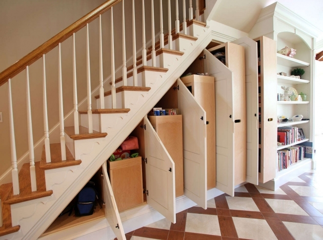 Modern Under Staircase Design With Modern Ceramic Floor And White Modern Wall Shelves  Image 74