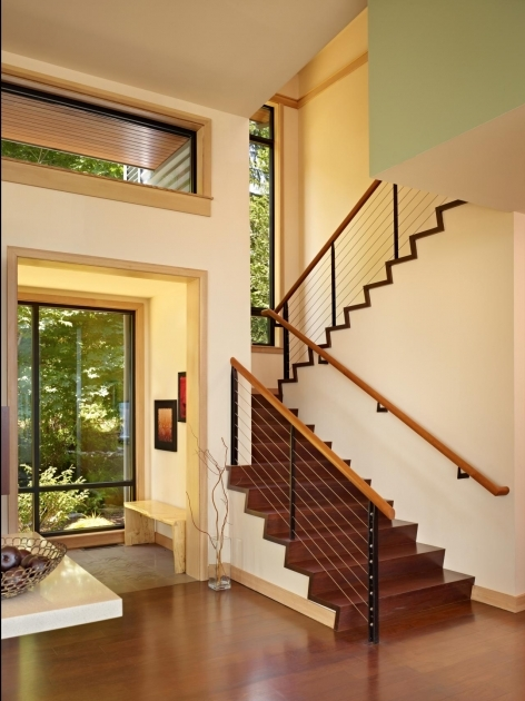 Modern Wooden Handrail FINNE Architects Port Ludlow House Stairs Pic 67