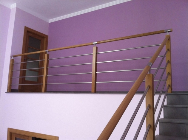 Modern Wooden Handrail Purple Wall Modern Wood Railing With Wooden Fence Brings Natural Touch Pics 37