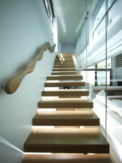 Modern Wooden Handrail Using Floating Wooden Staircase Including All White Staircase Wall Paint Image 12