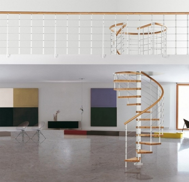 White Staircase Railing Space Saving Spiral Staircase Design Ideas With Brown Solid Wood Floating Step Picture 26