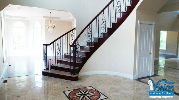 Curved Staircase Railing Curve With Stone Treads Richmond Photos 38