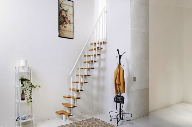 Simple Staircase Design Ideas Small Room Staircase Ideas Floating Staircase Brown Wooden Treads White Metal Balusters Photos 58