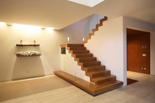 Simple Staircase Design Ideas With Varnished Wooden Tread Riser And Stringer And Glass Pic 85
