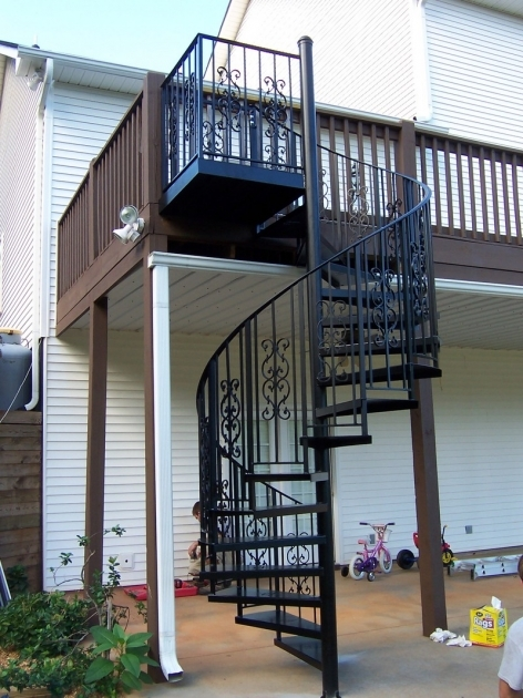 Spiral Staircases Exterior Design Ideas Using Black Iron Spiral Staircase With Black Wrought Iron Images 13