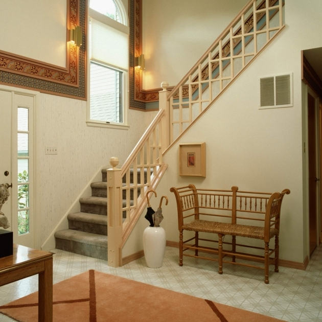 Wooden Staircase Railing Modern Staircase Design With Beige Wood And Grey Fabric Cover Steps Stair Pics 10
