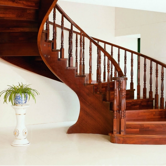 Wooden Staircase Railing Solid Wood Interior Rotation Pole Armrest Home Pic 81