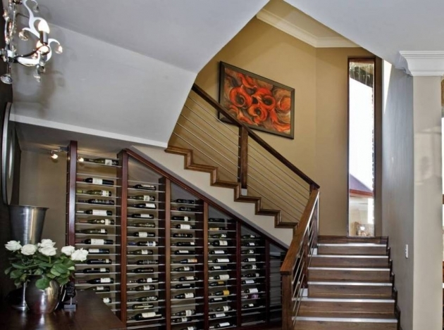 Designs For Stairs With A Landing Modern Dark Finish Pine Wine Cellar Under Quarter Landing Staircase Images 09