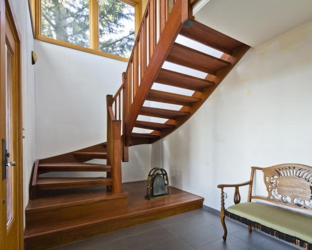 Designs For Stairs With A Landing With Solid Wood Beech Handrail And Round Starting Newel Unique Quarter Landing Wooden Spiral Staircase Design Photo 69