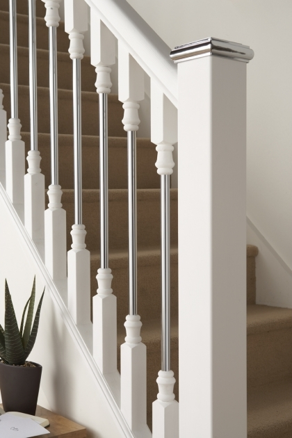 Oak Staircase White Spindles Contemporary Wood Banisters Solo White Primed With Chrome Image 78