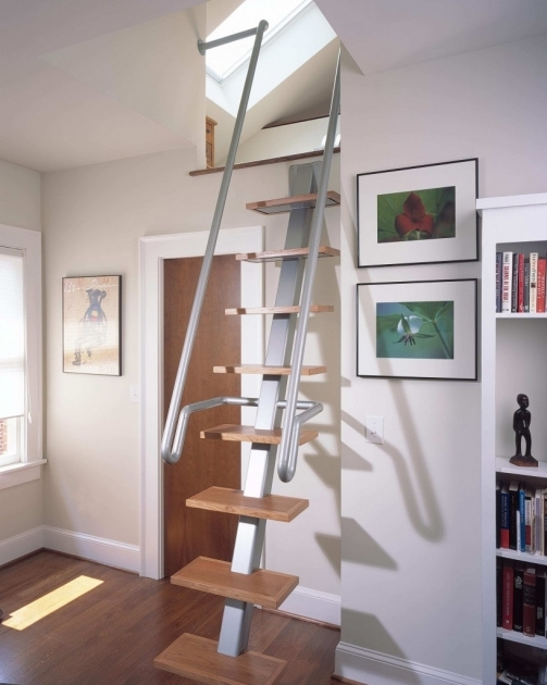 Staircase Designs For Small Homes Solid Wooden Tread Metal Handrail In Silver Modular Steel Pic 65