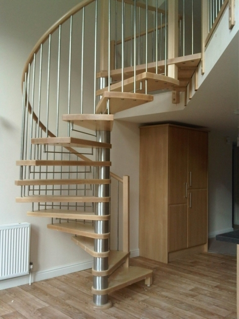 Staircase Designs For Small Homes With Chrome Metal Stair Pole Be Equipped Brown Wooden Spiral Staircase And Chrome Metal Fence Photo 91