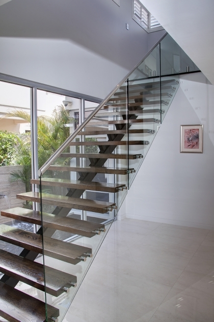 Staircase Glass Railings Modern Natural Design White Wall Can Add The Modern Nuance House Design Photo 33