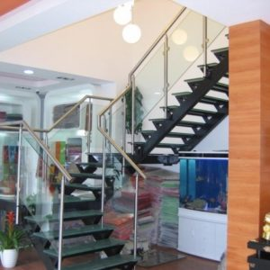 Staircase Steel Railing Designs with Glass