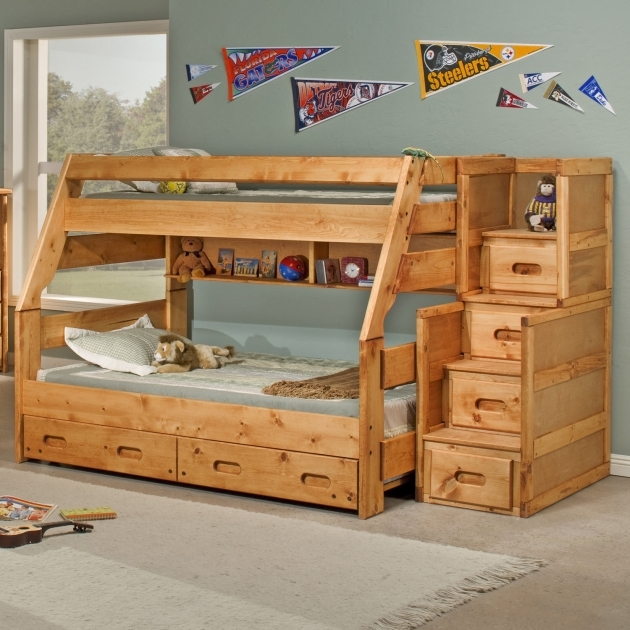 Twin Over Full Bunk Bed With Stairs And Trundle Design Pics 02