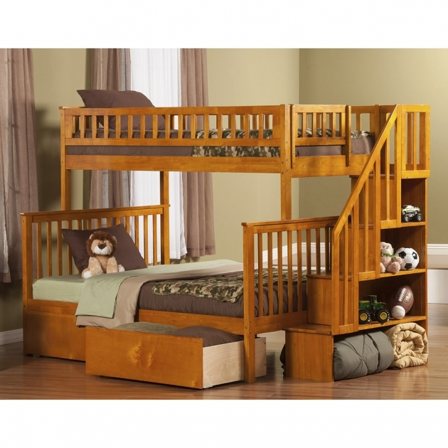 Twin Over Full Bunk Bed With Stairs Atlantic Furniture Woodland With 2 Urban Lifestyle Bed Drawers And Staircase AB5674 Images 13