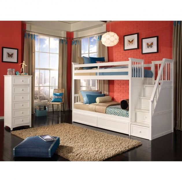 Twin Over Full Bunk Bed With Stairs Girls Loft Beds Kids Furniture Ideas Photo 41