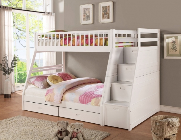 Twin Over Full Bunk Bed With Stairs Monahan For Kids Fun Furniture Pic 36