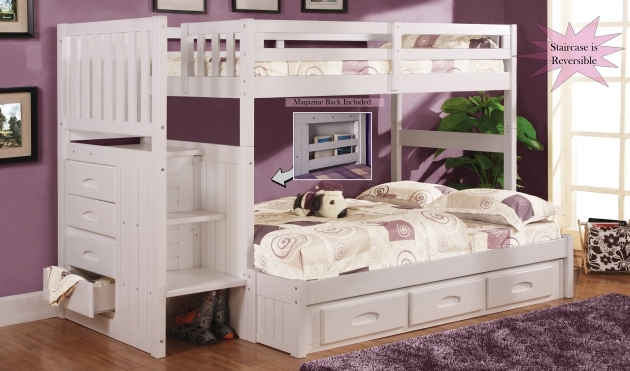 Twin Over Full Bunk Bed With Stairs White Furniture Pic 90