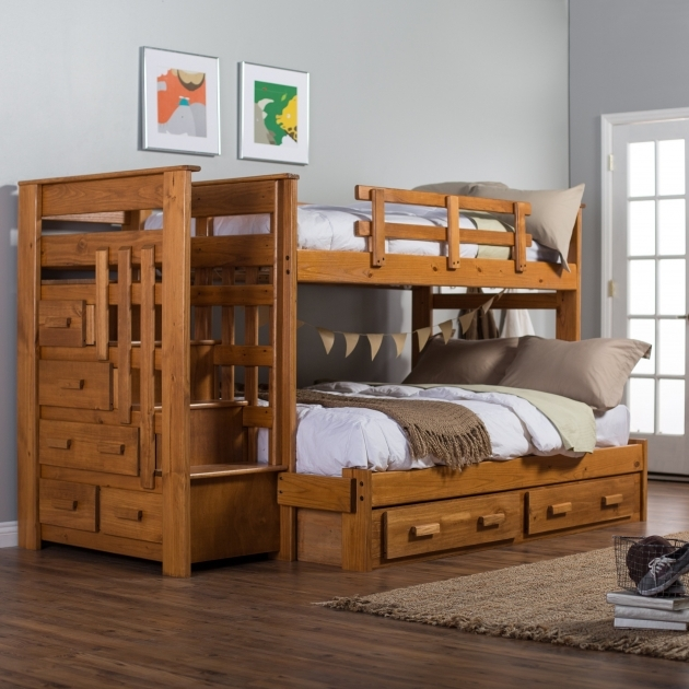 Twin Over Full Bunk Bed With Stairs Woodcrest Heartland Stairway Picture 35