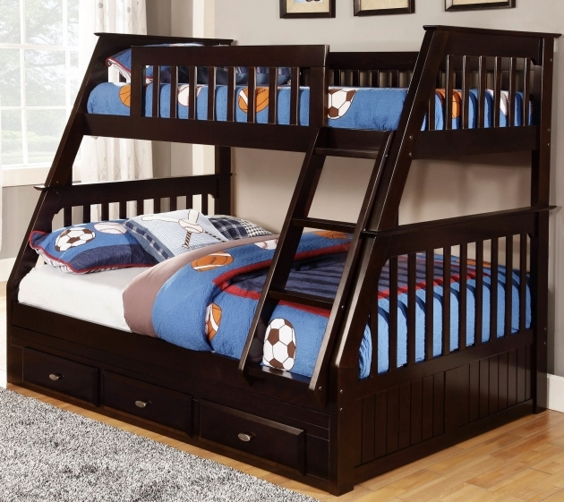 Twin Over Full Bunk Bed With Stairs Wooden Base Photo 19