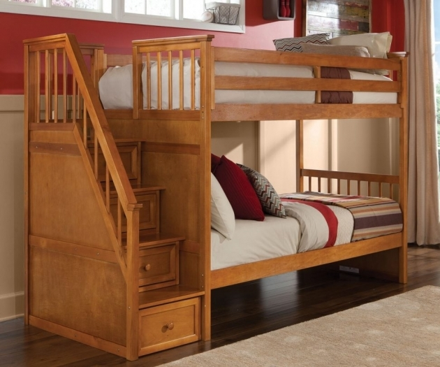 Wood Bunk Beds With Stairs Cocoa Brown Twin Size Chest Elegant Pine Beds Dark Pictures 14