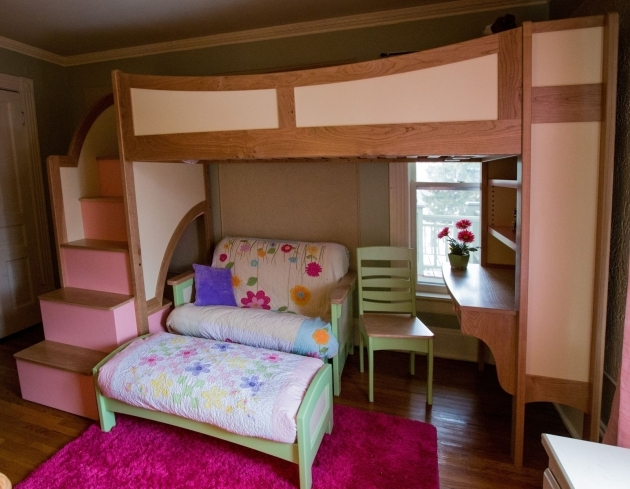 Wood Bunk Beds With Stairs Custom Pink And Brown Stained Wooden Loft Bed With Desk Picture 08
