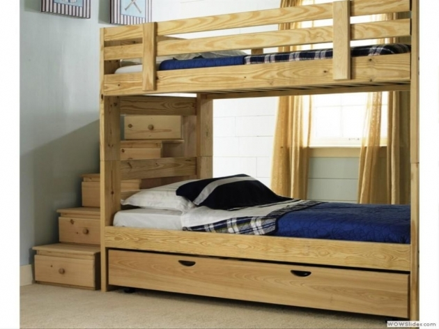 Wood Bunk Beds With Stairs Design Photo 25