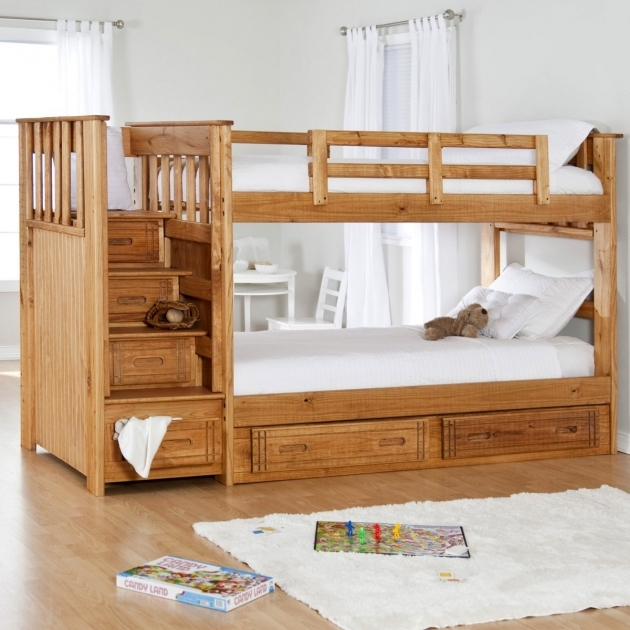 Wood Bunk Beds With Stairs Installed At Kids Bedroom With White Fur Rug Pics 37