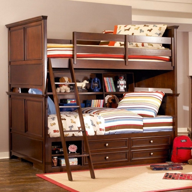 Wood Bunk Beds With Stairs Modern Brown Varnished Oak And Storage Drawers Image 13