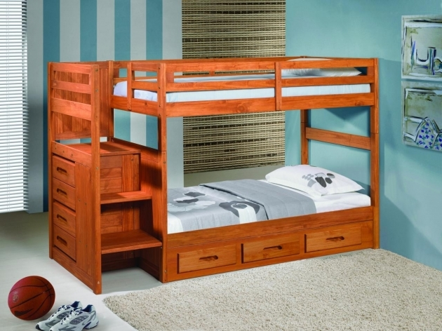 Wood Bunk Beds With Stairs Pine In Cherry Finished And Storage Drawers Photo 46