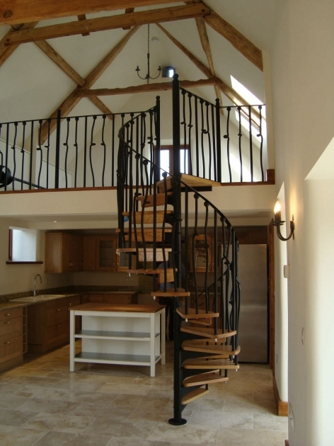 Wrought Iron Spiral Staircase Elegant Black Corner Stairs With Open End Angled Treads Picture 43