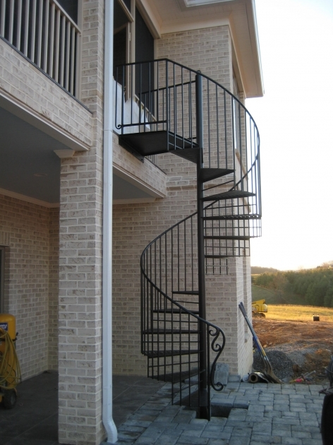 Wrought Iron Spiral Staircase Outdoor In Dark Finish Wrought Iron With Thin Metal Steps And Cool Handrail Picture 32