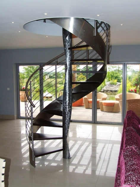 Wrought Iron Spiral Staircase Unique Home Interior Decor With White Ceramic Home Flooring Ideas And Light Blue Wall Paint Design Images 83