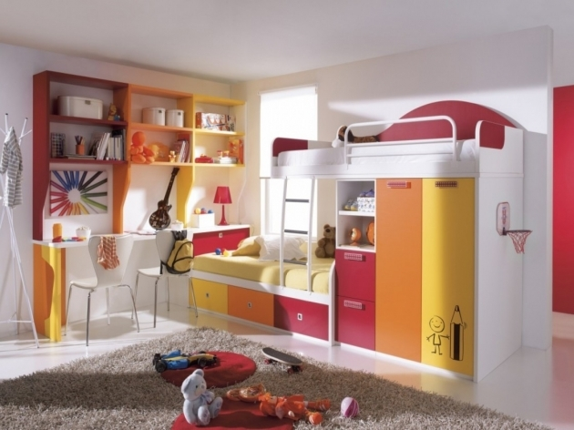Childrens Bunk Beds With Stairs Adorable Colorful Wooden Design With White Polished Iron Stairs And Wardrobe Plus Storage Drawers Pic 83