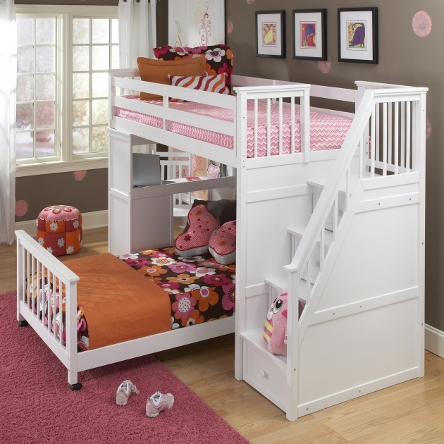 Childrens Bunk Beds With Stairs Furniture Bedroom Kids Room With White Wooden Bunk Bed And Brown Comforter Images 93