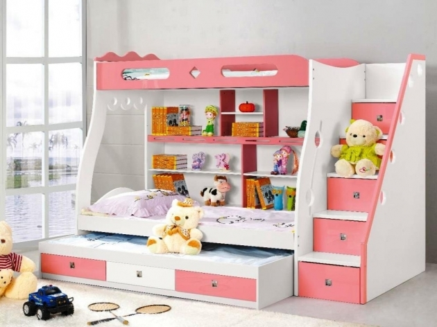 Childrens Bunk Beds With Stairs Model Ideas Girly Design Photo 88